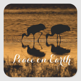 Cranes and Peace on Earth Square Sticker