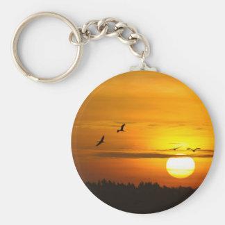 Cranes at sunrise basic round button keychain