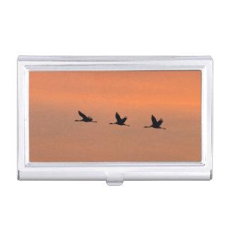 Cranes at sunrise business card holder