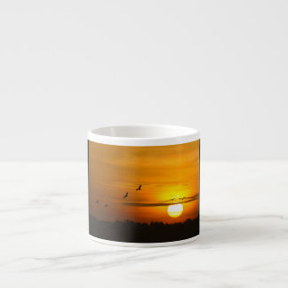 Cranes at sunrise espresso cup