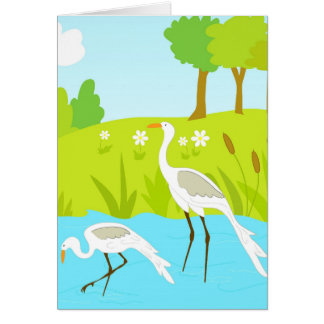 Cranes in pond card