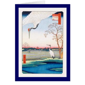 Cranes Minowa Kanasugi Mikawashima Hiroshige Fine Card