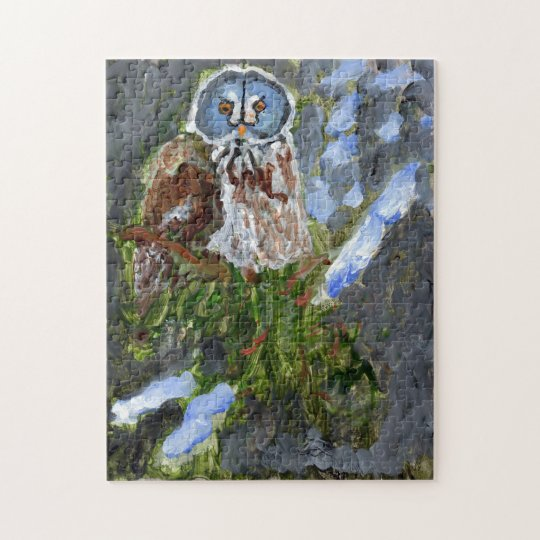 Cranky blue-faced owl jigsaw puzzle