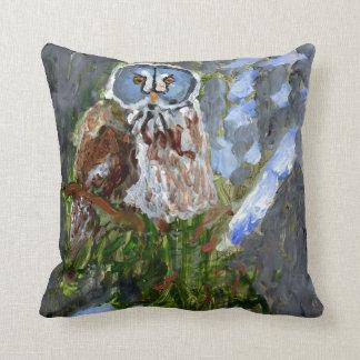 Cranky blue-faced owl pillow