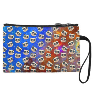 Cranky Cat in Space Clutch Wristlet Purse