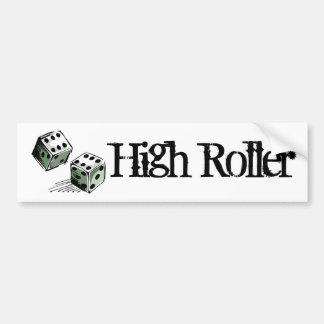 Craps Dice High Roller Gambling Car Bumper Sticker
