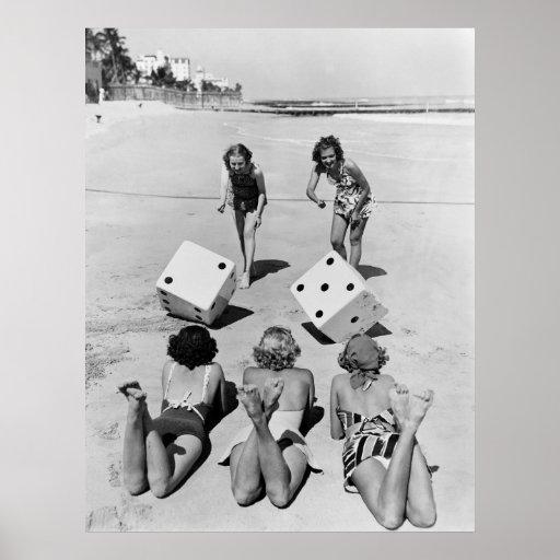 Craps in the Sand, 1940s Print