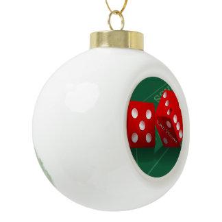 Craps Table With Las Vegas Dice Ceramic Ball Ornament