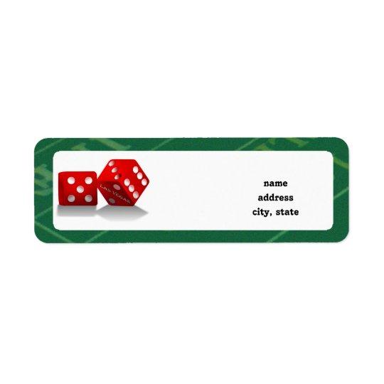 Craps Table With Las Vegas Dice Return Address Label