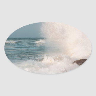 Crashing wave oval sticker