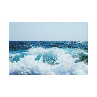 Crashing Wave Sea Surf Beach Water Fantastic Blue Canvas Print