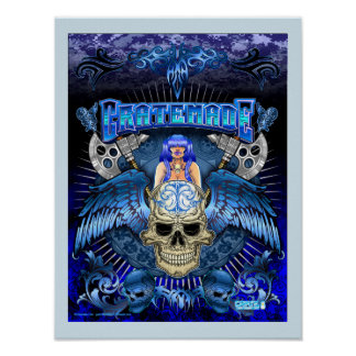 Cratemade Winged Skull Art Design poster