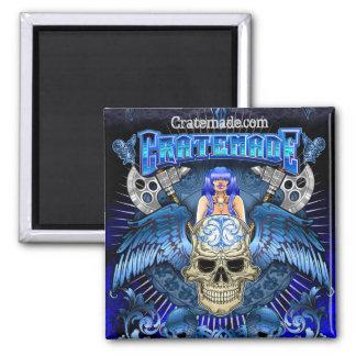 Cratemade Winged Skull Art Design square magnet