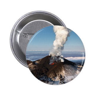 Crater eruption volcano: lava, gas, steam, ashes 2 inch round button