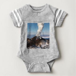 Crater eruption volcano: lava, gas, steam, ashes baby bodysuit
