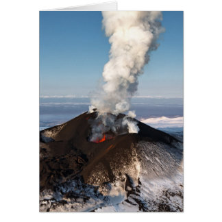 Crater eruption volcano: lava, gas, steam, ashes card