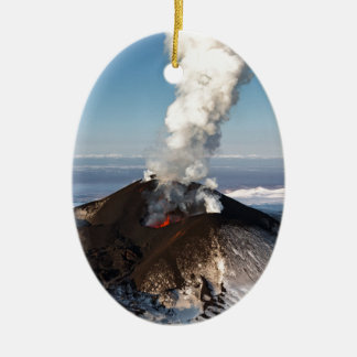 Crater eruption volcano: lava, gas, steam, ashes ceramic ornament