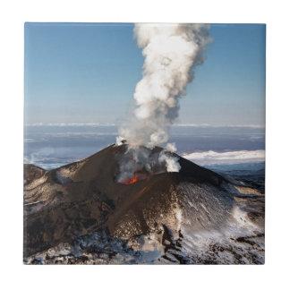 Crater eruption volcano: lava, gas, steam, ashes ceramic tiles