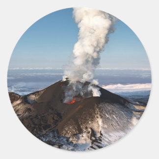Crater eruption volcano: lava, gas, steam, ashes classic round sticker