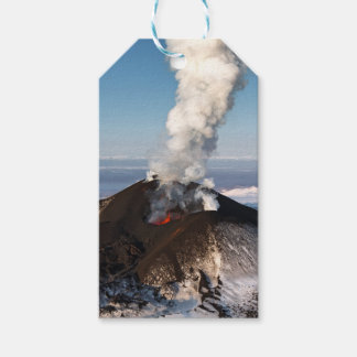 Crater eruption volcano: lava, gas, steam, ashes gift tags