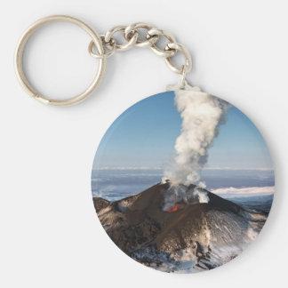 Crater eruption volcano: lava, gas, steam, ashes keychain