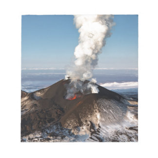 Crater eruption volcano: lava, gas, steam, ashes notepad