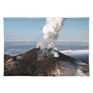 Crater eruption volcano: lava, gas, steam, ashes placemat