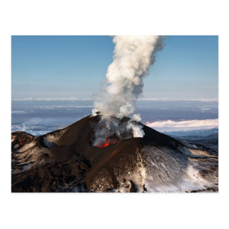 Crater eruption volcano: lava, gas, steam, ashes postcard
