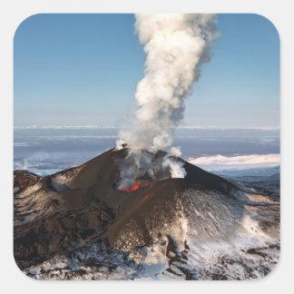Crater eruption volcano: lava, gas, steam, ashes square sticker