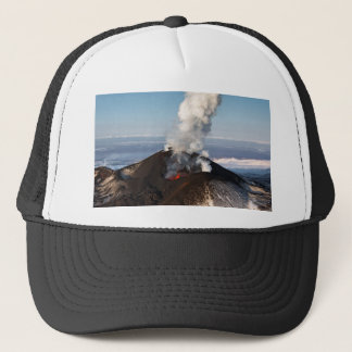 Crater eruption volcano: lava, gas, steam, ashes trucker hat