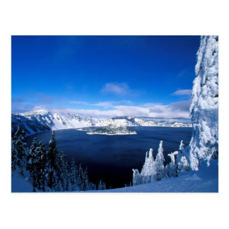 Crater Lake in Winter Oregon Postcard
