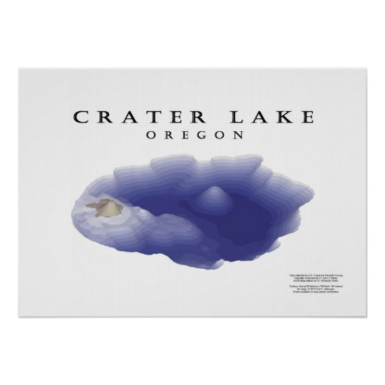 Crater Lake map Poster