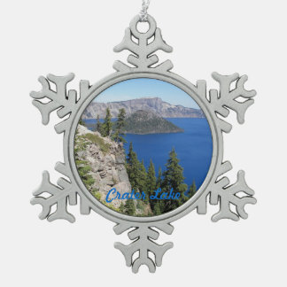 Crater Lake National Park Photo Snowflake Pewter Christmas Ornament