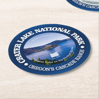 Crater Lake National Park Round Paper Coaster