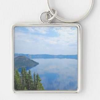 Crater Lake National Park Silver-Colored Square Keychain