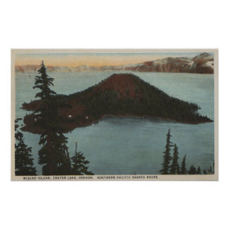 Crater Lake, Oregon - Wizard Island View #1 Poster