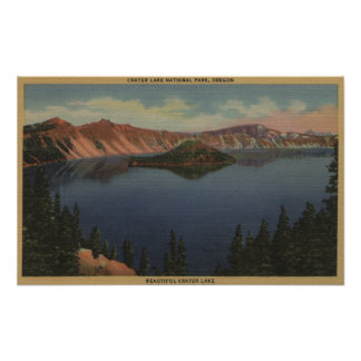 Crater Lake, Oregon - Wizard Island View #2 Poster