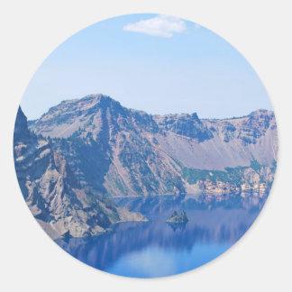 Crater Lake Phantom Ship Classic Round Sticker