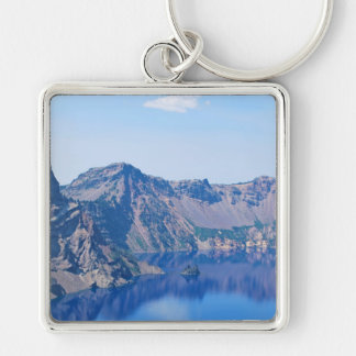 Crater Lake Phantom Ship Silver-Colored Square Keychain