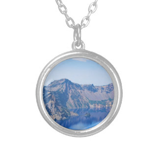 Crater Lake Phantom Ship Silver Plated Necklace