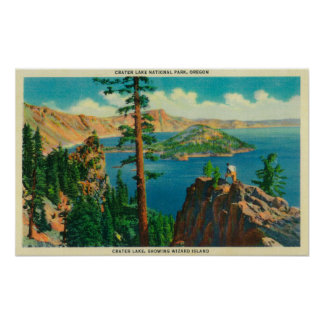 Crater Lake showing Wizard Island in distance Posters