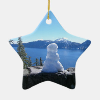 Crater Lake Snowman Ceramic Ornament