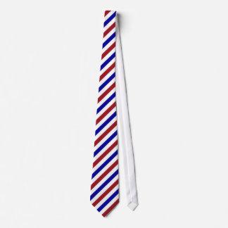 Cravate blanche rouge de motif de rayure bleue