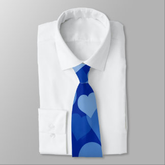 Cravate bleue de coeurs de Valentine