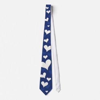 Cravate Cadeau bleu romantique blanc dispersé des coeurs |