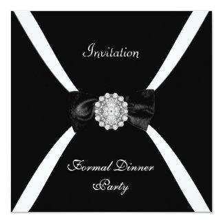 Cravate d'arc blanche noire élégante élégante carton d'invitation  13,33 cm