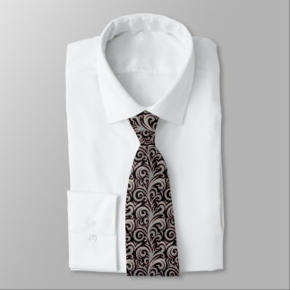 Cravate grise élégante de motif de feuillage