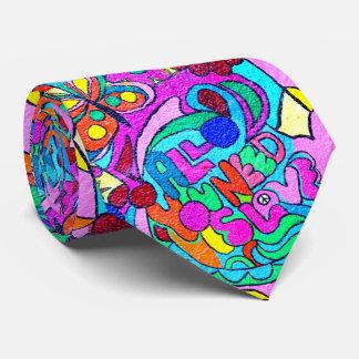 cravate sauvage de couleurs d'amour des années 70