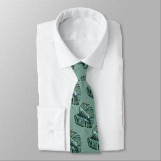 Cravate tropicale de vert sauge de motif de