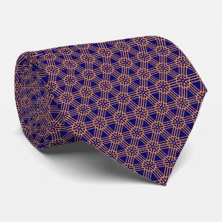 Cravates élégantes bleu-foncé et d'or de motif de